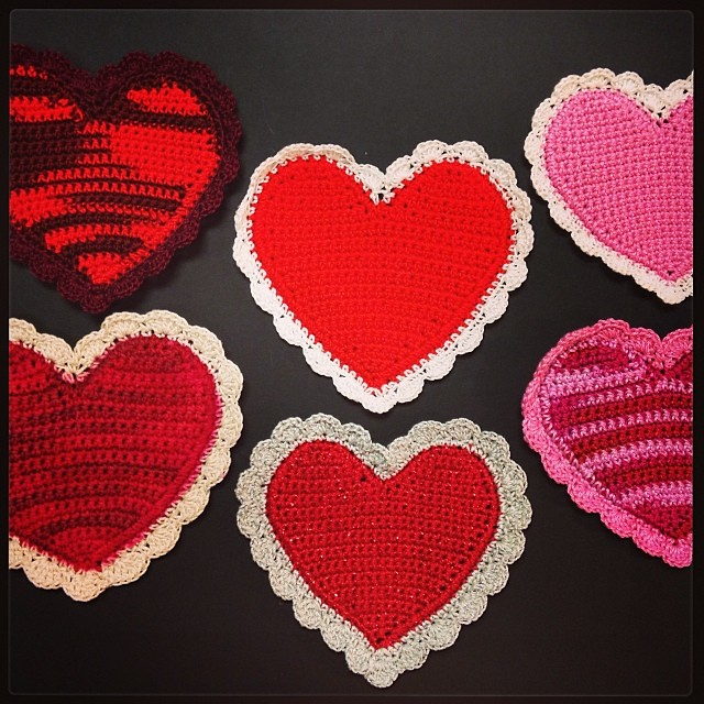 Striped Crocheted Hearts