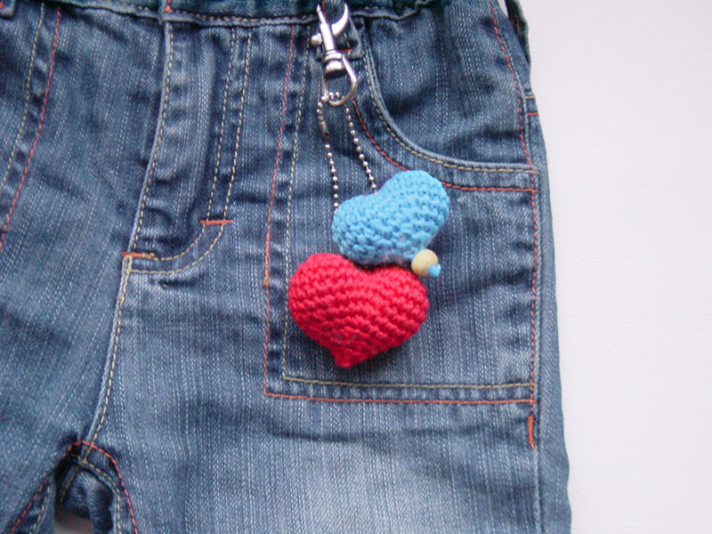 Crocheted Heart Keychain