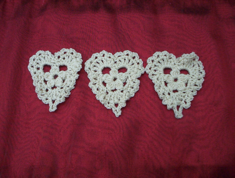 Crocheted Trio of Hearts