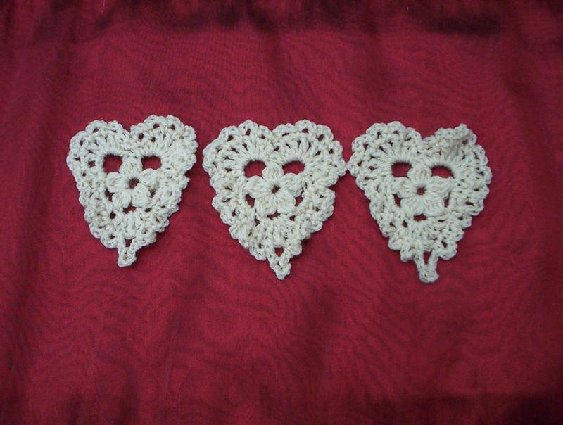 Crocheted Trio of Hearts