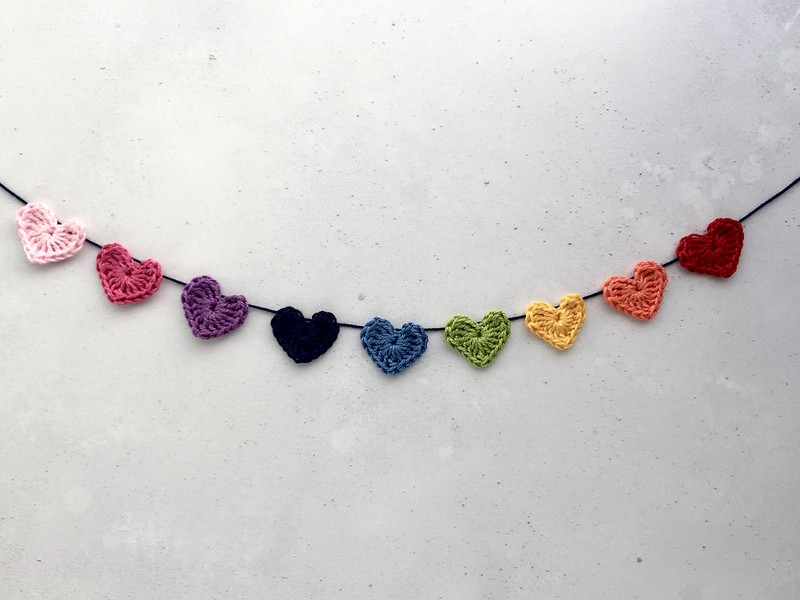 Rainbow crocheted hearts