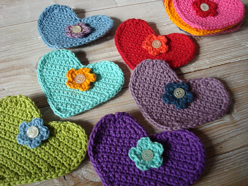 Crocheted button hearts