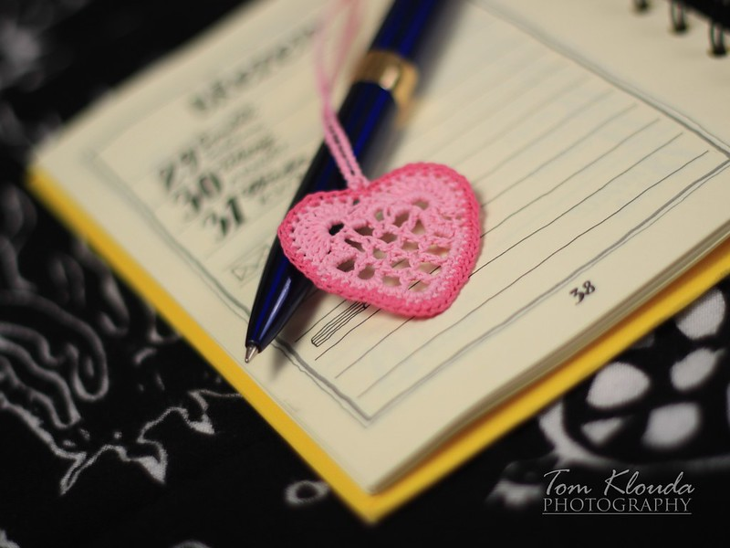 Crocheted pink heart bookmark