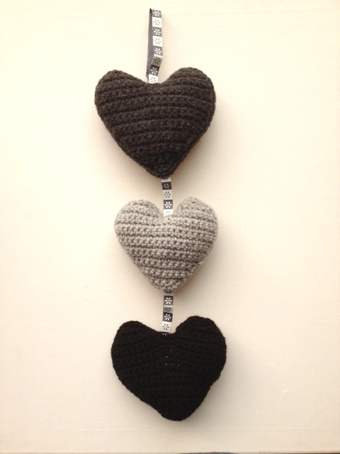 Black, White and Gray Crocheted Hearts