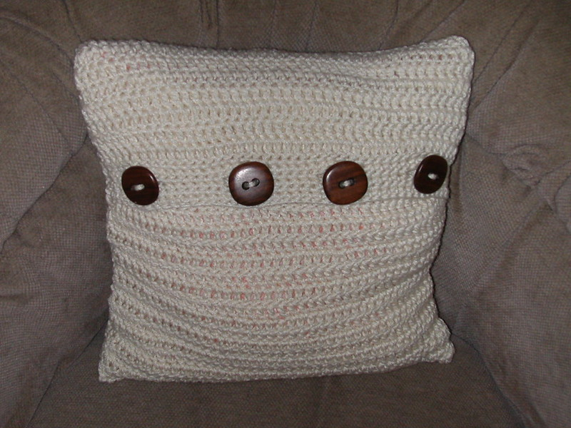 taupe crochet pillow cover with buttons