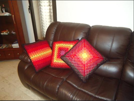 sunrise crochet pillow cover