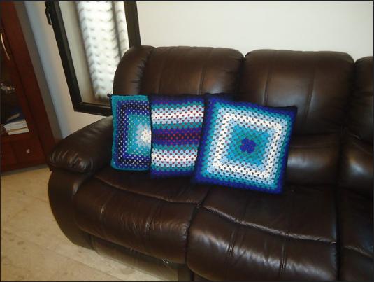 blue stripe crochet pillow cover