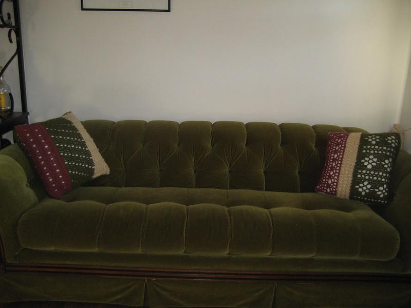 green crochet pillow cover