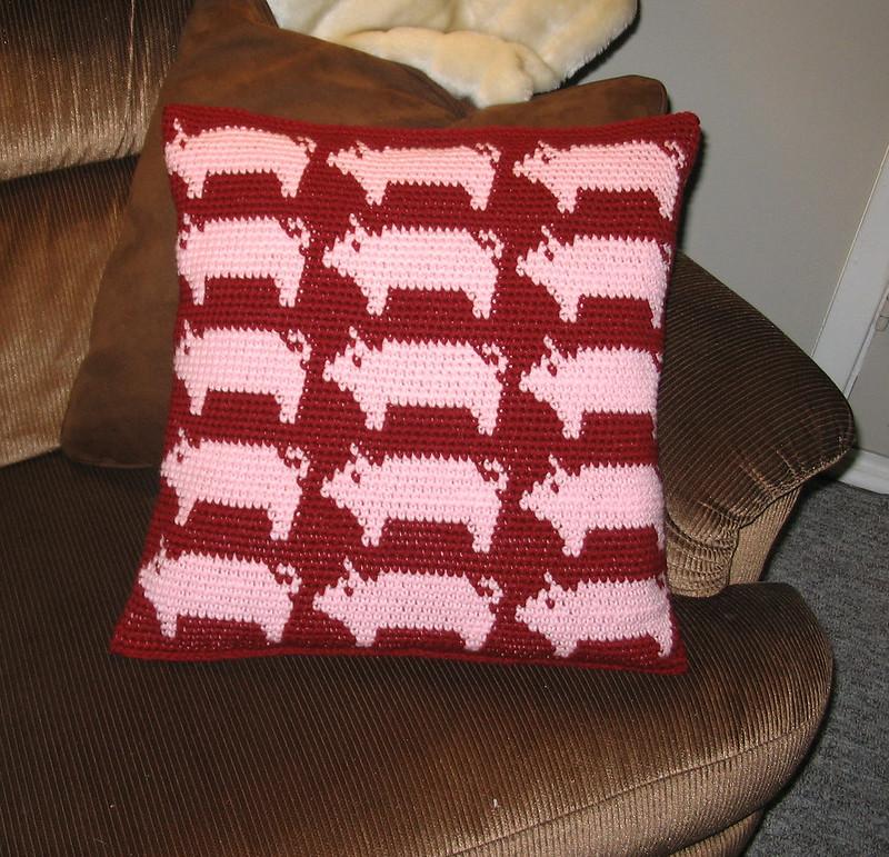 animal crochet pillow cover pig