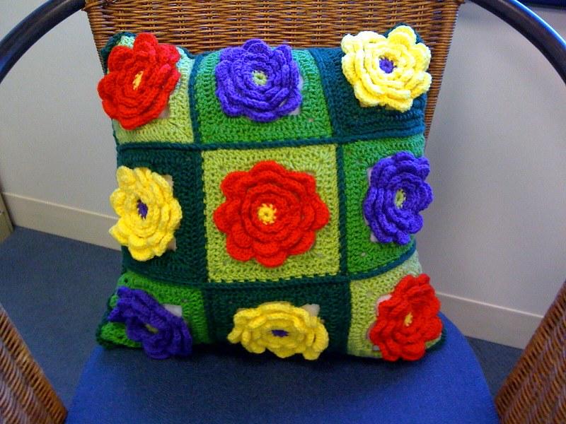 flower crochet pillow cover