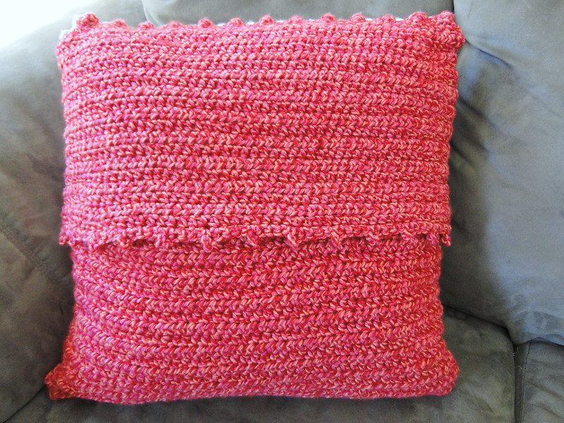 Coral crochet pillow cover