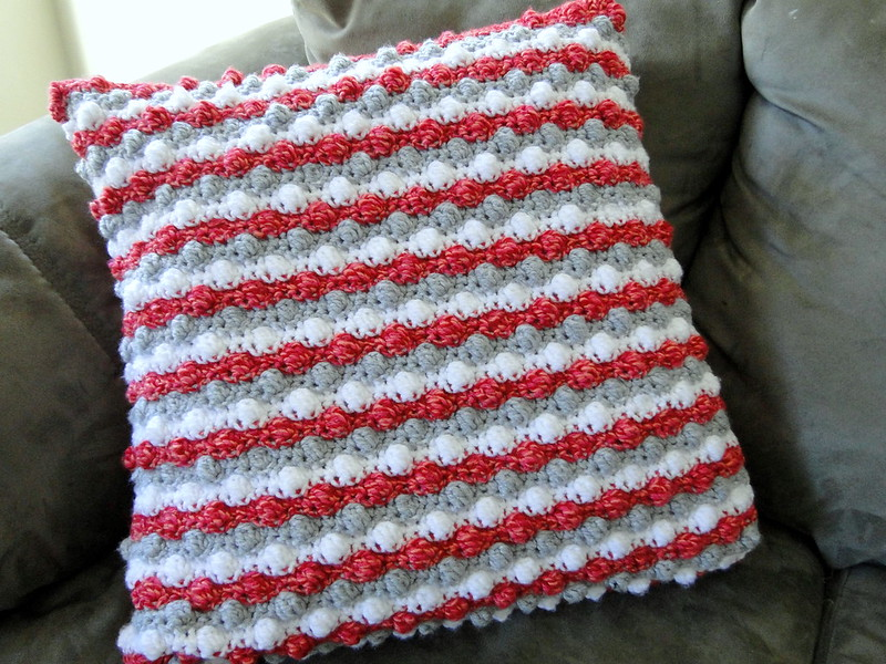 red white and gray crochet pillow cover