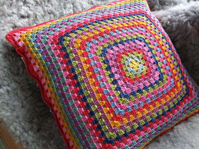 multi-color crochet pillow cover