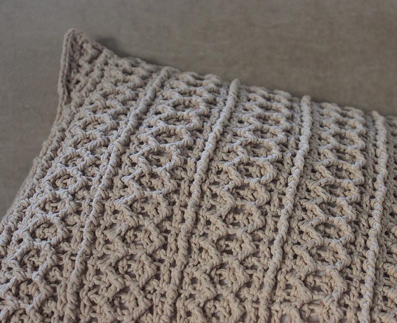crochet pillow cover in gray
