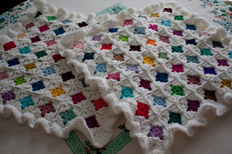 colorful ruffle crochet pillow cover