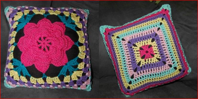 vibrant crochet pillow cover