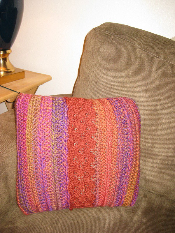orange purple and pink crochet pillow cover
