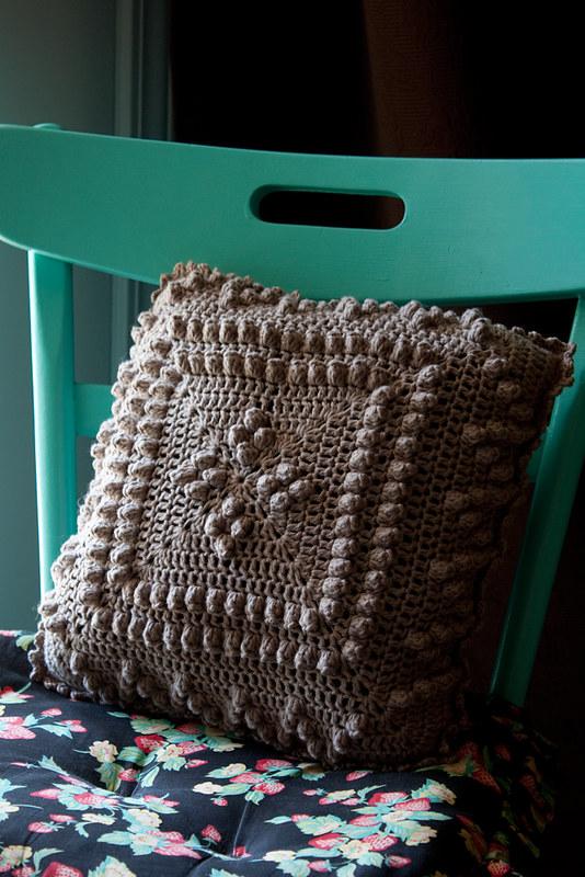 block crochet pillow cover
