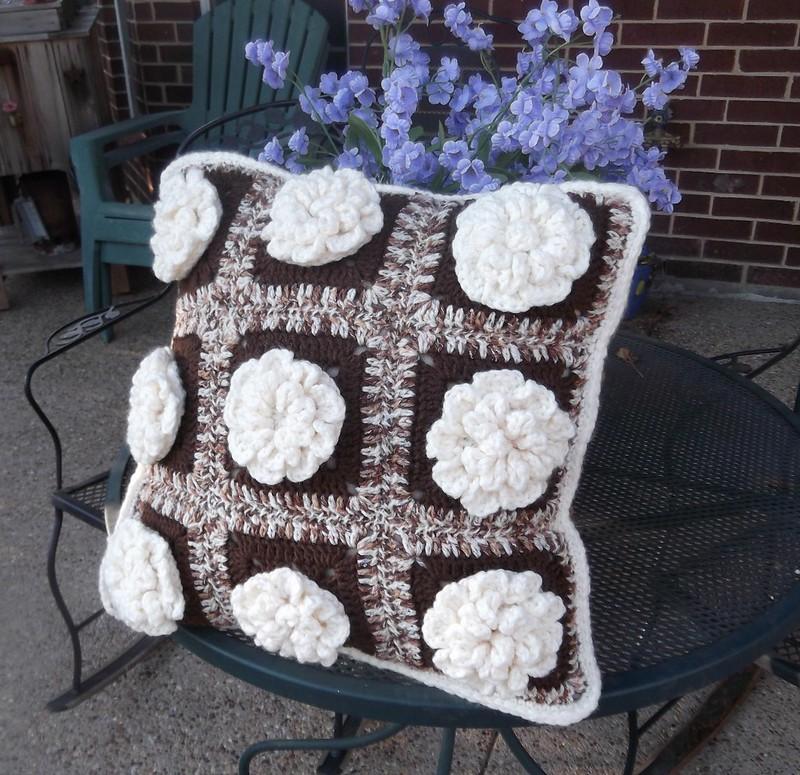 3d floral crochet pillow cover