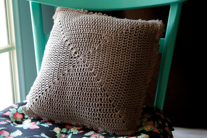 brown crochet pillow cover
