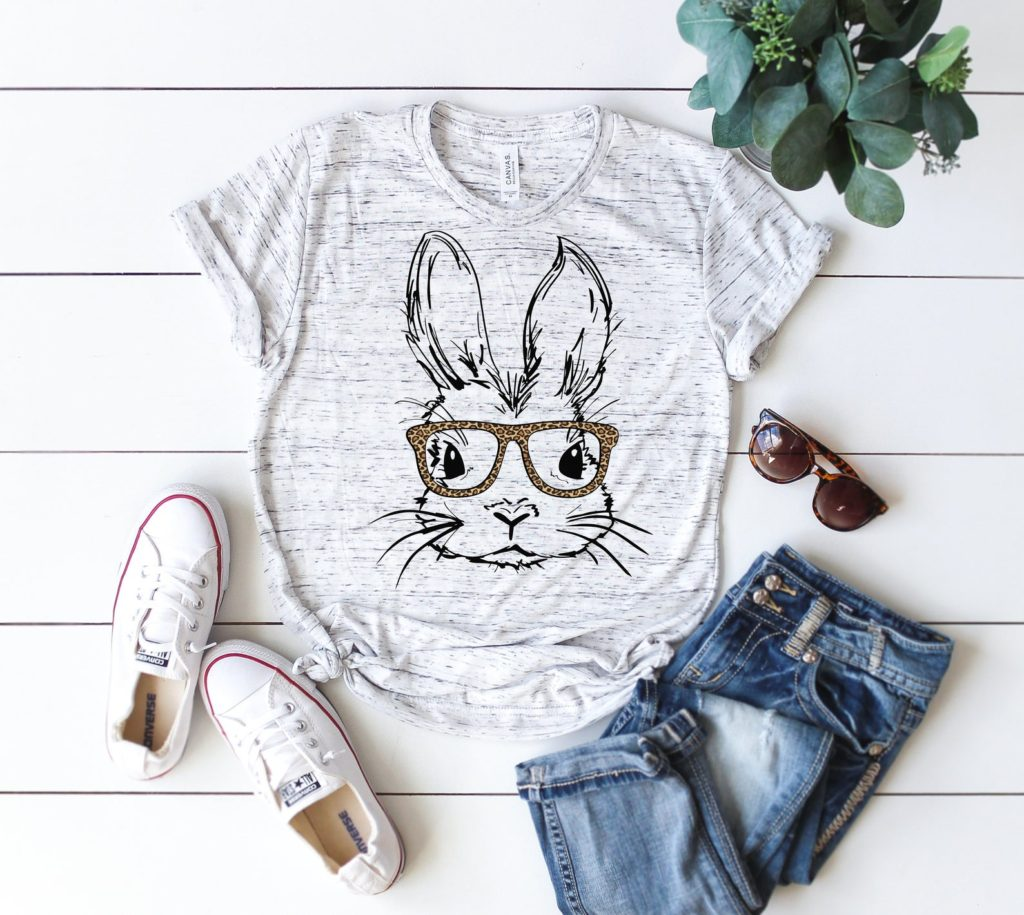 Ladies Easter Bunny with Glasses Vinyl Shirt