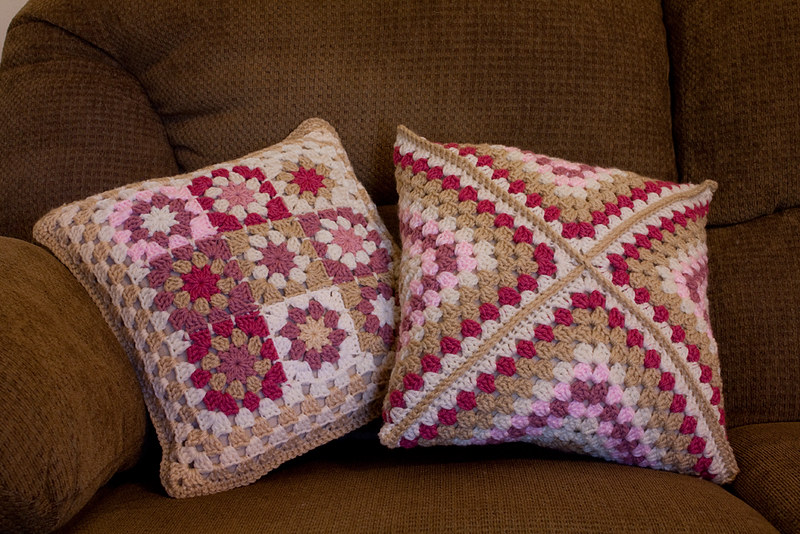 double sided crochet pillow cover