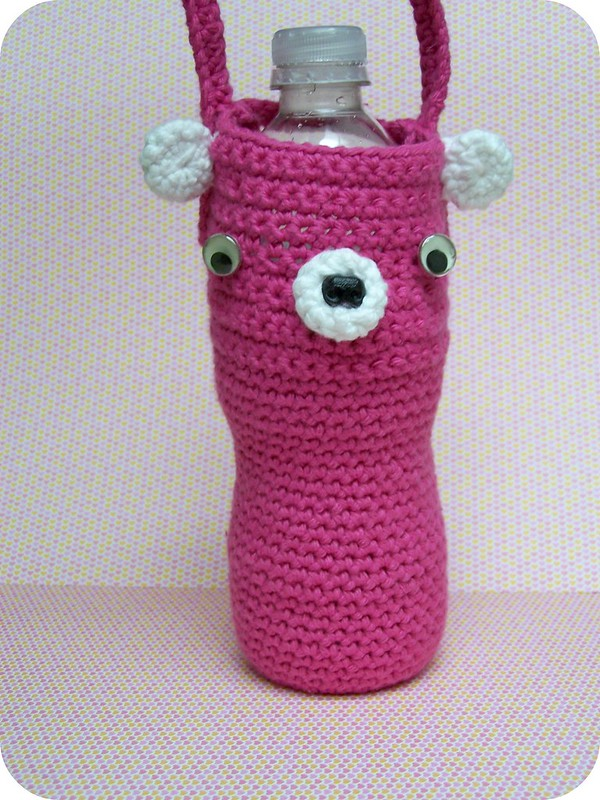 teddy bear crochet water bottle holder pattern
