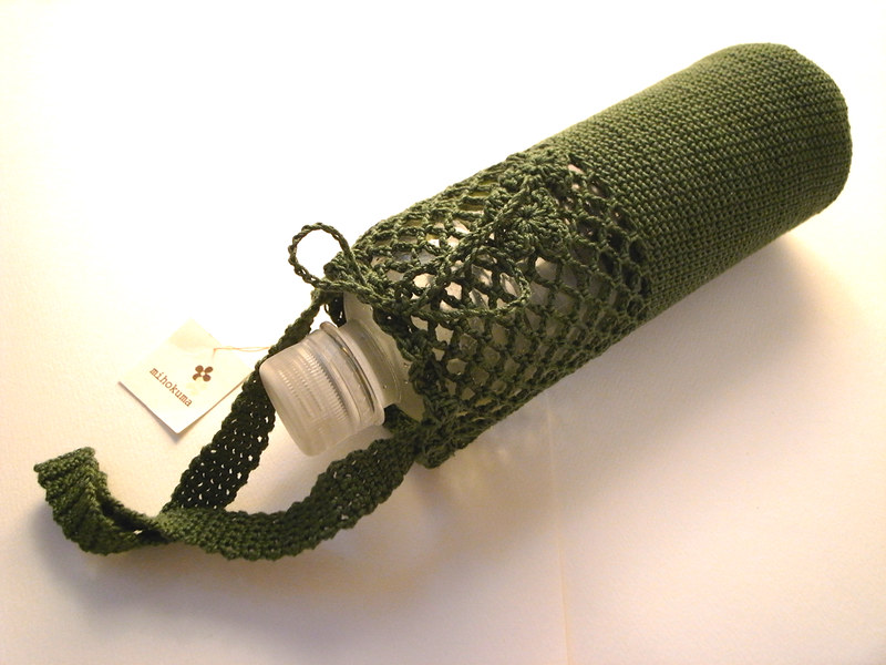 green crochet water bottle holder