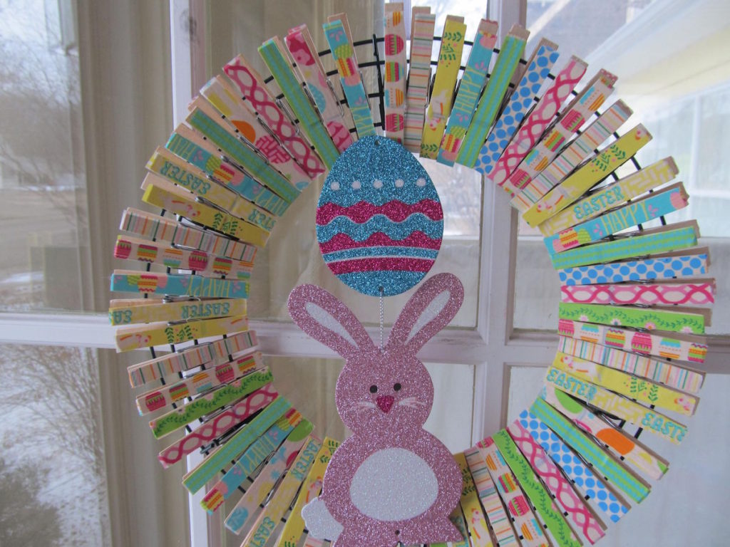 Easter Clothespin Wreath