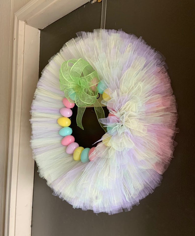 Multi colored Easter egg wreath