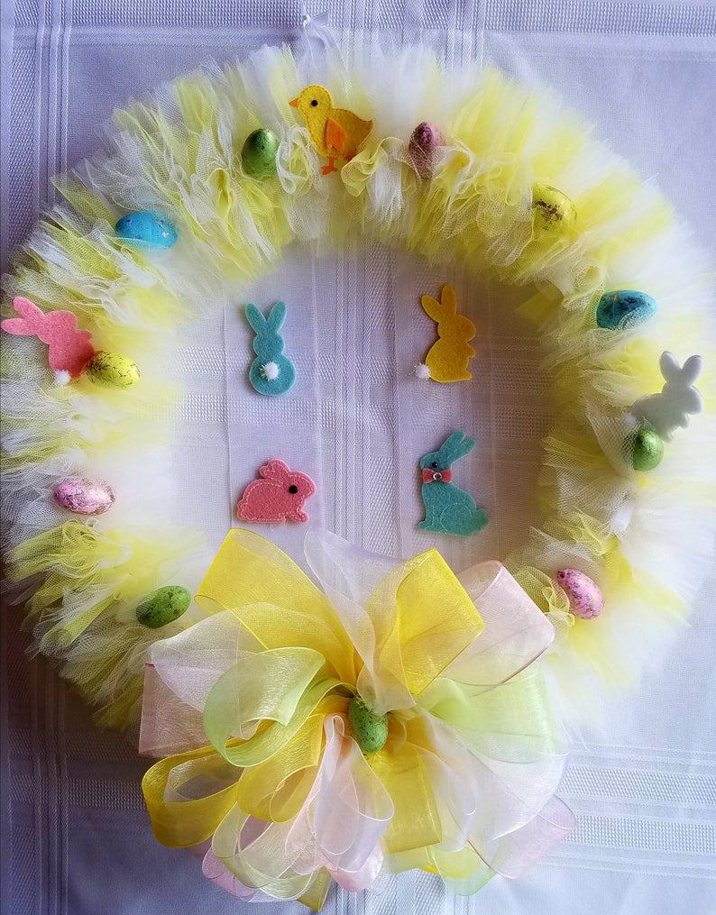 Bunny Easter Tulle Wreaths