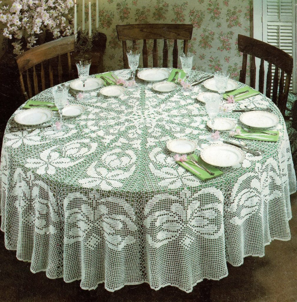 Beautiful Round Oriental Filet Crochet Tablecloth, Vintage Crochet Pattern, PDF, Digital Download - B546