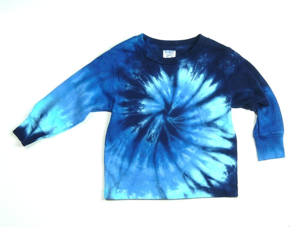 Long Sleeve Toddler Blue Tie Dye Shirt