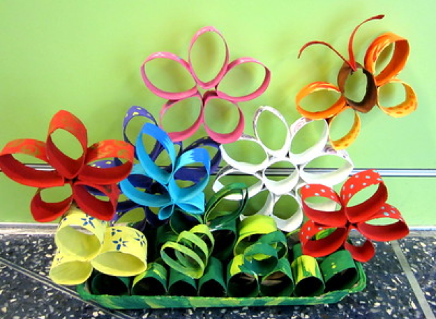 Colorful toilet paper roll flowers and butterflies