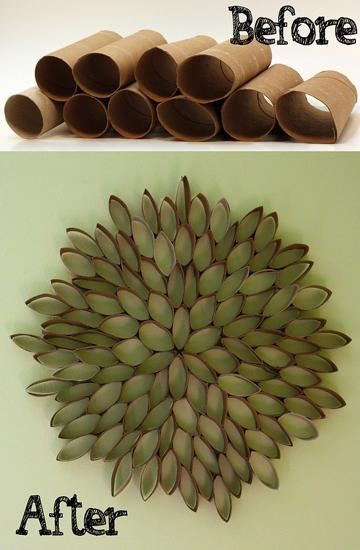 Leaf toilet paper roll wreath