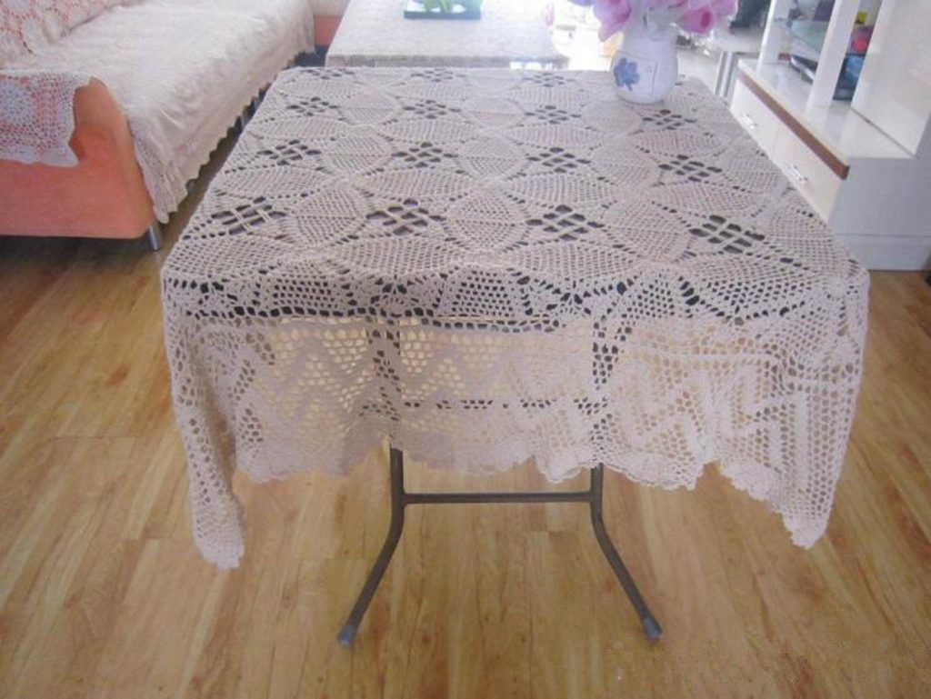 "Gorgeous hand crochet 53"" square tablecloth, 100% handmade table cover suqare, Vintage style floral table cloth table topper for home decor"