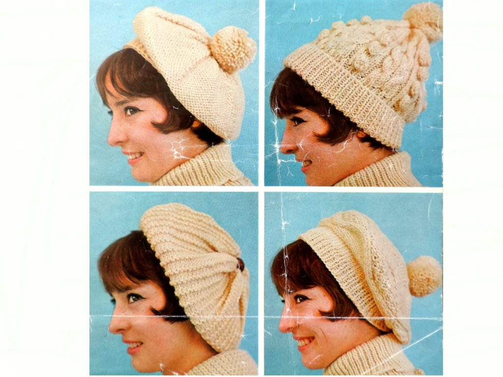 Womens Aran Hat & Beret Knitting Pattern PDF, Ladies Head-Wear in 4 Designs Berets, Bobble Hat with Cables and Bobbles, Tam O' Shanter