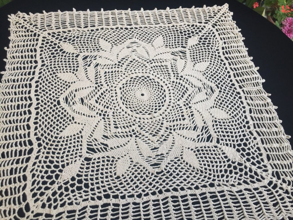 small crochet lace tablecloth