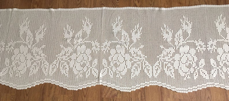 X- Large Well done vintage curtain / coat hand crocheted in bone white cotton yarn, with pattern of lovely flowers from Sweden 1970s.