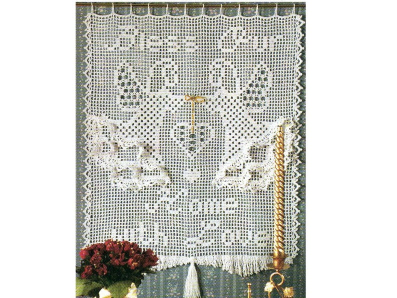 Angel Curtain Crochet Pattern Bless Our Home With Love Crochet Pattern PDF Instant Download