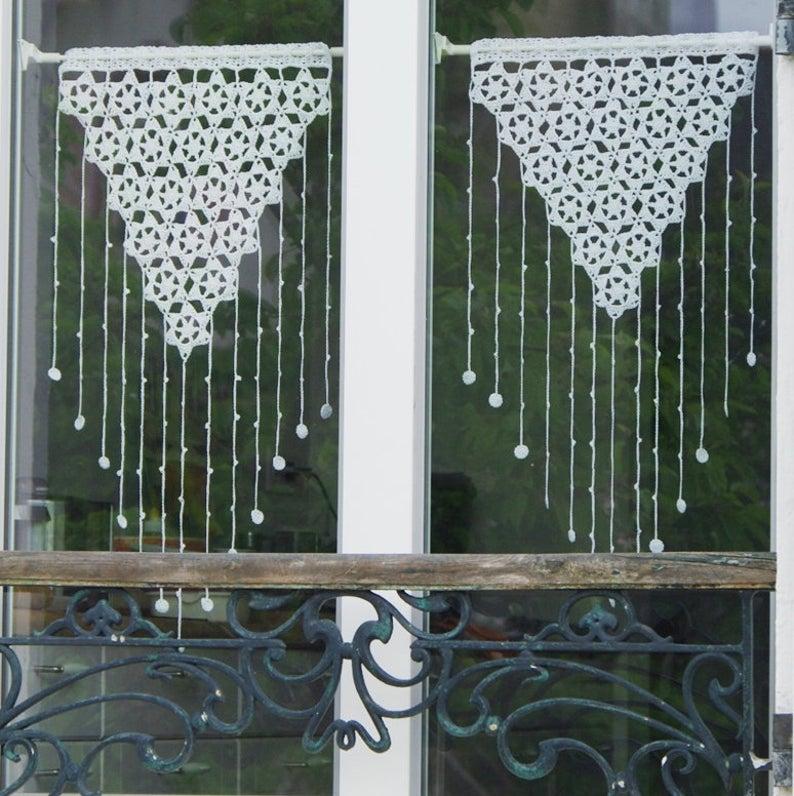 Crochet pattern, crochet lace curtain, curtains valance, diy, kitchen #23