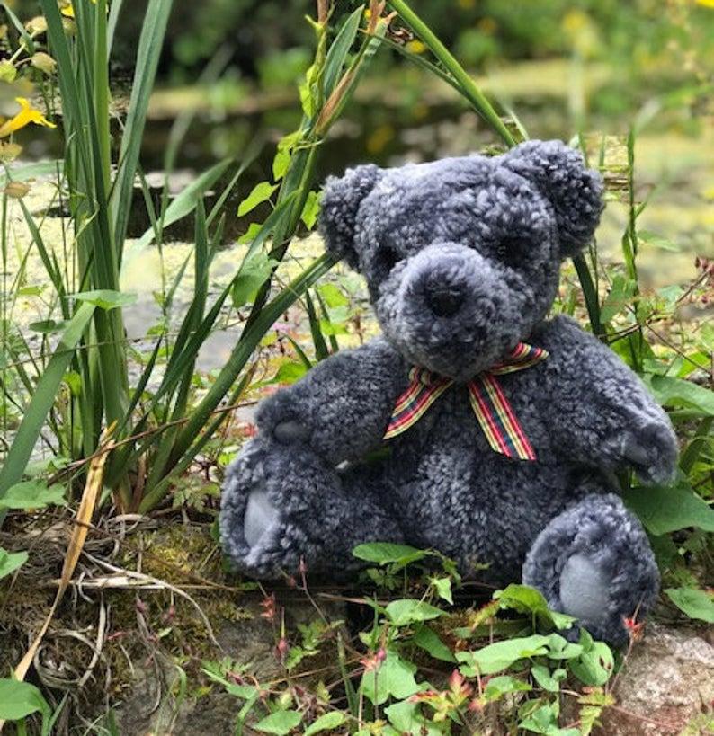Mr Grey Teddy - Sheepland British Genuine Sheepskin Grey Teddy Bear