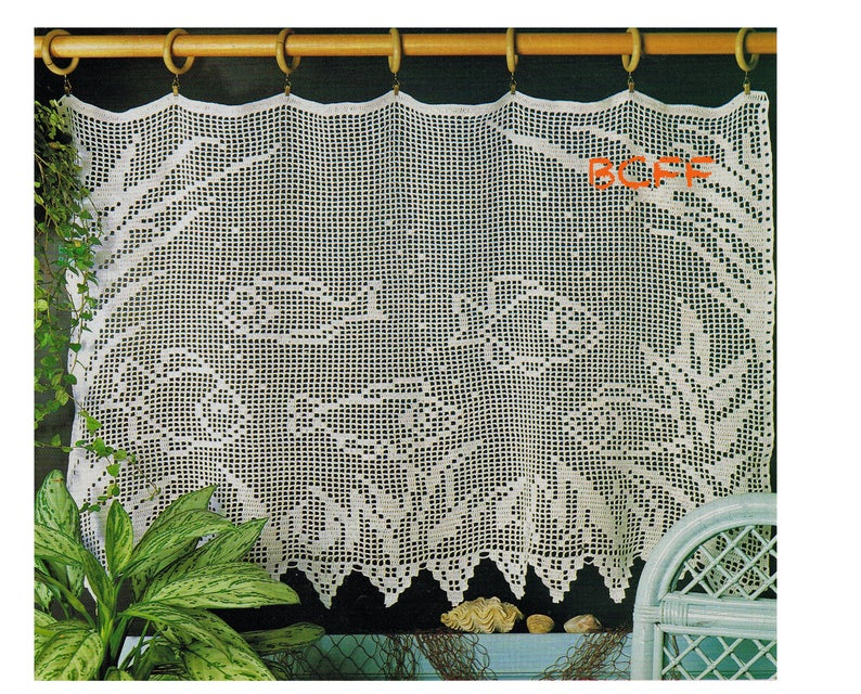Filet Crochet Pattern to make a Fish Tank Lace Edged Valance Mesh Net Cafe Curtain Shabby Chic Country Cottage Digital Crochet Pattern