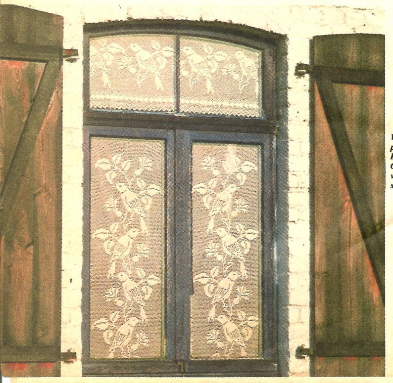 Quaint Old-World Design of Doves and Thistle Flowers, Curtain Pattern