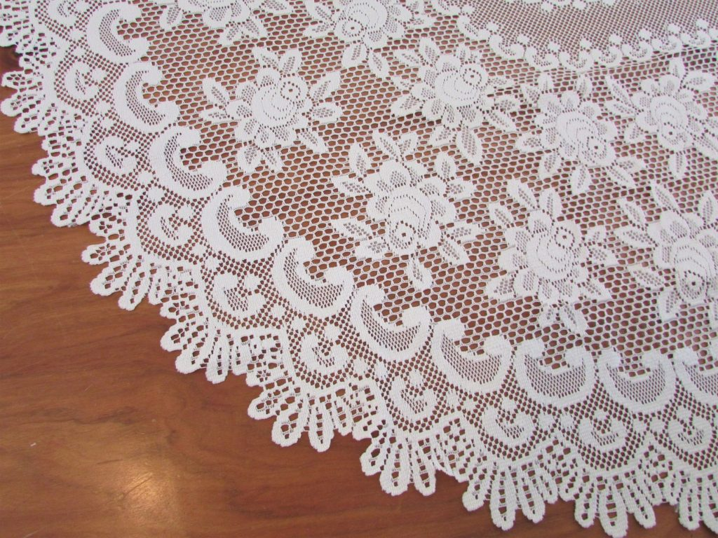 "Oval Ivory Quaker Lace Roses Tablecloth/ Large 1970's floral, machine filet crochet lace tablecloth/ 61"" X 82 1/2"""