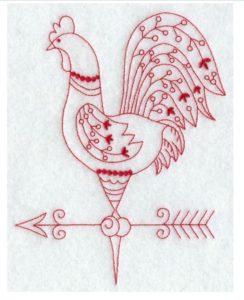 Redwork Chicken Weathervane Pattern