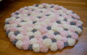Pink and Grey Pom Pom Rug