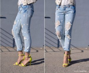 Homemade Cute Lace Ripped Jeans DIY