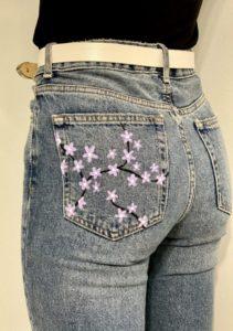 Unique Acrylic Painted Jean Pockets
