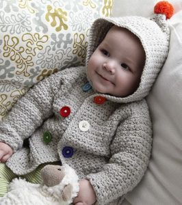 Free Crochet Baby Hooded Sweater Pattern